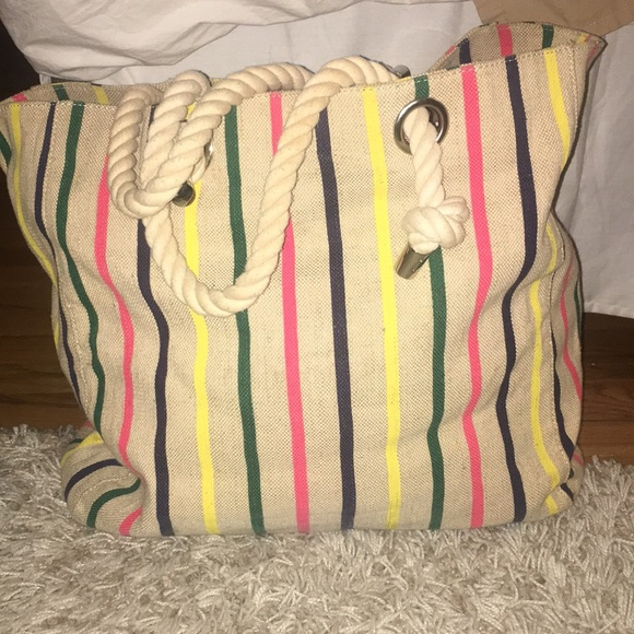 32851784ce65 Sussan Bags | Striped Canvas Beach Bag | Poshmark